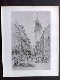 After Samuel Prout 1880 Antique Print. Evreux, France